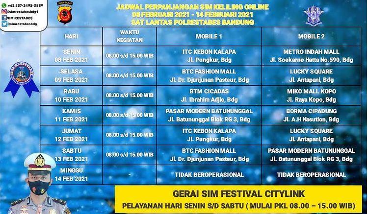 Jadwal SIM Keliling Kota Bandung Hari Ini, Senin 8 - Sabtu ...